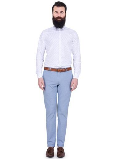 Puantiyeli Uzun Kollu Slim Fit Gömlek-Lufian